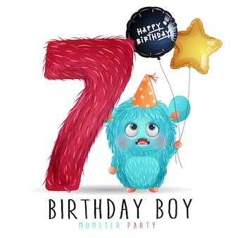 День рождения милого маленького монстра с акварельной иллюстрацией