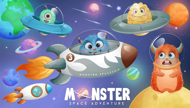 Cute little monster outer space in watercolor style illustration