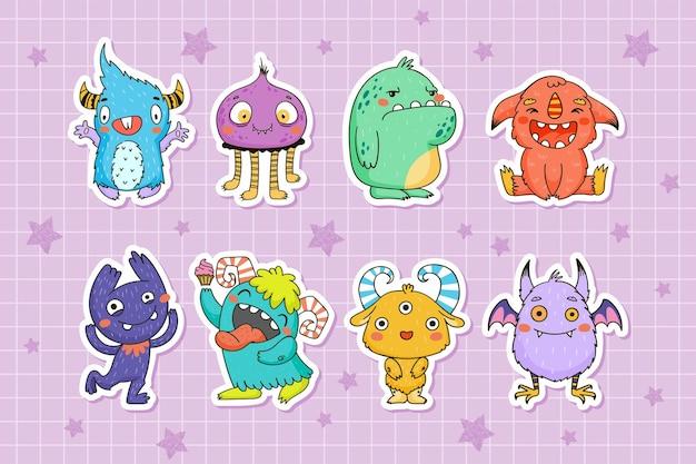 손으로 그린 스타일의 아이들을 위한 귀여운 작은 괴물 스티커 컬렉션