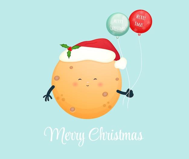 Милая маленькая луна держит воздушный шар на рождественский праздник premium векторы