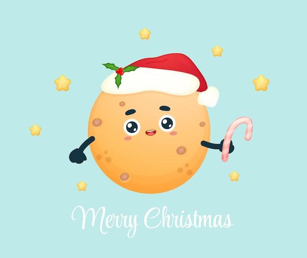 Милая маленькая луна держит конфету на рождественский праздник premium векторы