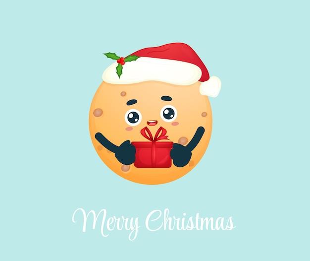 Милая маленькая луна держит подарок в шляпе санта-клауса для счастливого рождества premium векторы