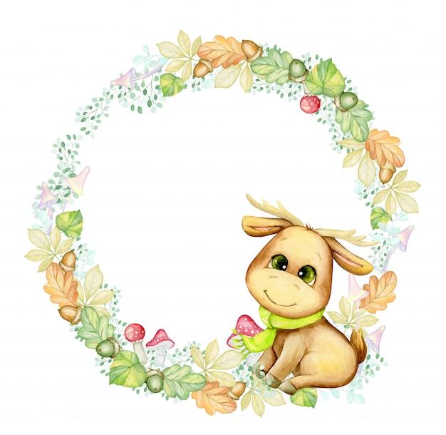 Милый маленький лось, в окружении осенних листьев, веток, грибов, желудей. акварель, круглая рамка, мультяшный стиль, на осеннюю тему.