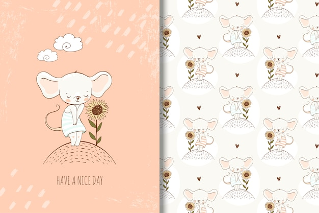 Cute little mouse in hand drawn style illustration. girlish card and seamless pattern