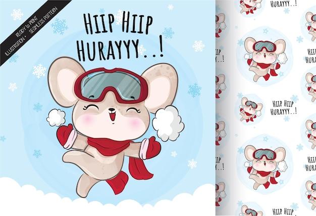 雪のイラストで幸せなかわいい小さなネズミ-背景のイラスト