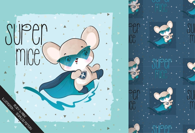 Cute little mouse hero character with seamless pattern