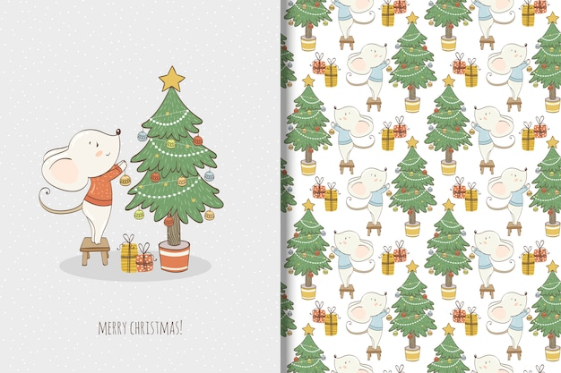Cute little mouse illustration. christmas card and seamless pattern