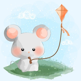 Cute little mouse playing kite