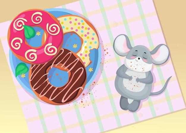 ドーナツイラストを食べた後にリラックスしてかわいい小さなマウス