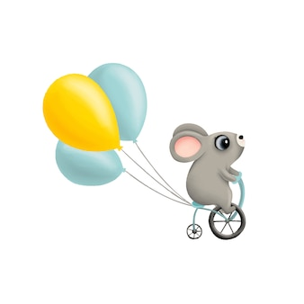 Cute little mouse rides a bicycle