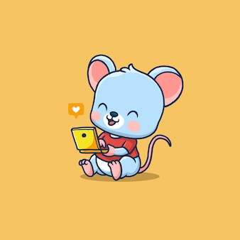 Cute little mouse using laptop isolated on orange