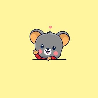 Милая маленькая мышь машет мультфильм