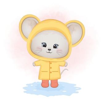 비옷 동물 수채화를 입고 귀여운 작은 마우스