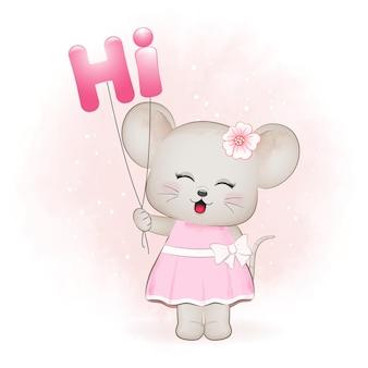 풍선과 함께 귀여운 작은 마우스