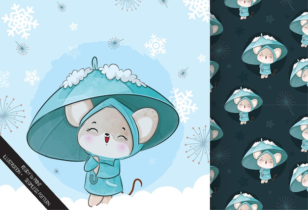 Cute little mouse with umbrella on the snow  illustration - illustration of background