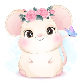 Cute little mouse with watercolor illustration