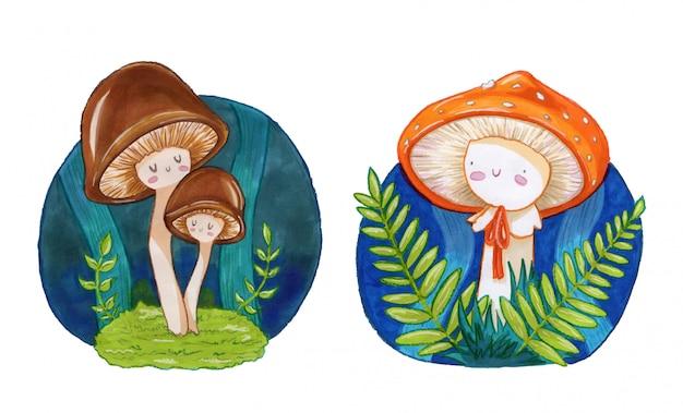 Cute little mushrooms illustration