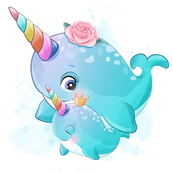 Cute little narwhal mother and baby illustration