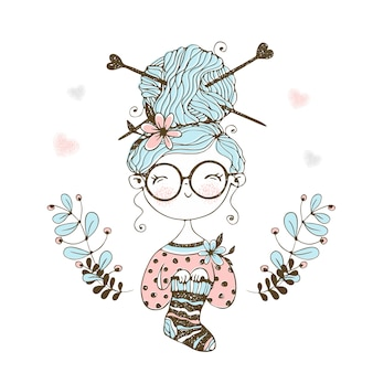 A cute little needlewoman knitted a sock.