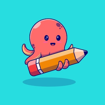 연필을 들고 귀여운 작은 문어 벡터 일러스트 디자인