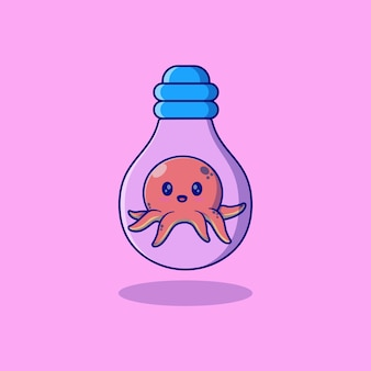 Милый маленький осьминог векторная иллюстрация дизайн в лампе накаливания