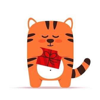 Cute little orange tiger cat in a flat style. the animal is standing with a gift in a box. happy birthday and holiday greetings.