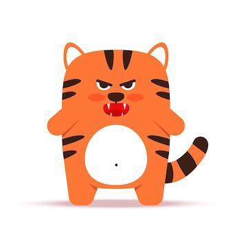 フラットスタイルのかわいい小さなオレンジ色のトラ猫。中国の旧正月2022年の動物のシンボル。怒っている不機嫌そうな虎が立っています。バナー、保育園の装飾に。ベクトルイラスト。