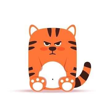 フラットスタイルのかわいい小さなオレンジ色のトラ猫。動物は怒って憂鬱に座っています。 2022年の旧正月のシンボル。バナー、保育園、装飾用。ベクトル手描きイラスト。