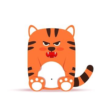 フラットスタイルのかわいい小さなオレンジ色のトラ猫。動物は怒って憂鬱に座り、うなり声を上げます。
