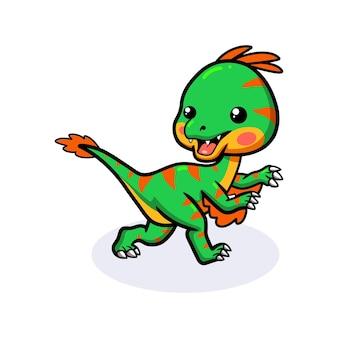 Милый маленький мультяшный динозавр овираптор работает