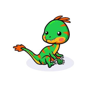 Милый маленький динозавр овираптор сидит