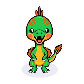 Милый маленький овираптор динозавр мультфильм стоя