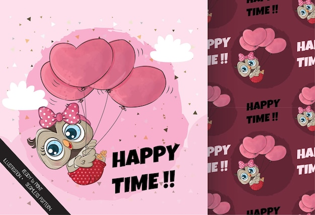 Cute little owl flying with balloon heart illustration illustration of background