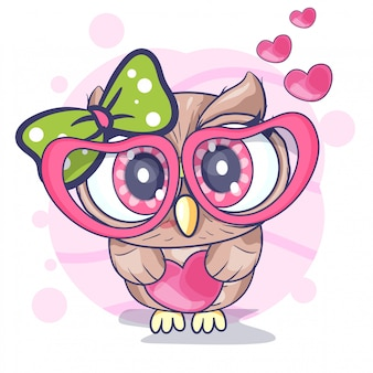 Cute little owl  girl with a heart