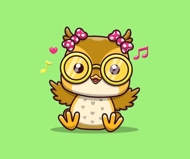 かわいいフクロウアイコンイラスト。フクロウのマスコットの漫画のキャラクター。