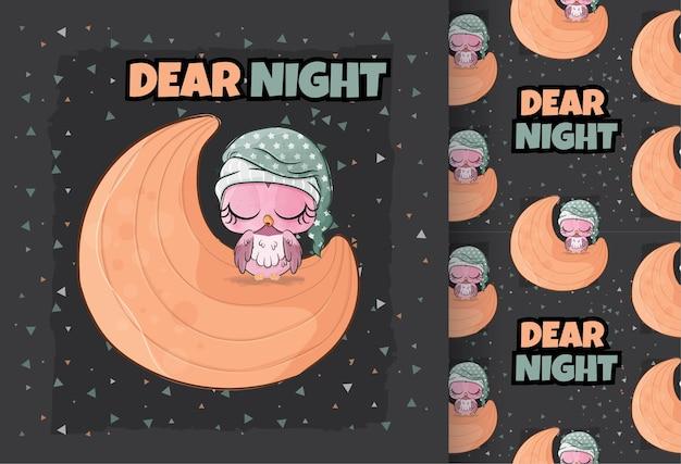 月のイラストで眠っているかわいいコキンメフクロウ背景のイラスト