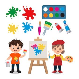 Милый маленький художник мальчик и девочка клипарт набор