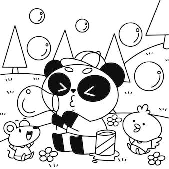 かわいい小さなパンダと友達カブ吹く泡ぬりえページイラストアセット
