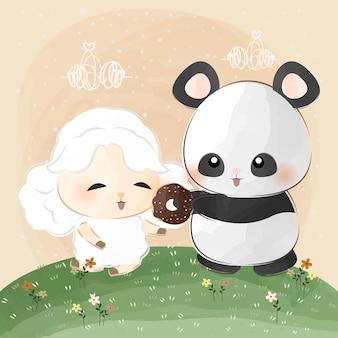 かわいい小さなパンダと羊の愛