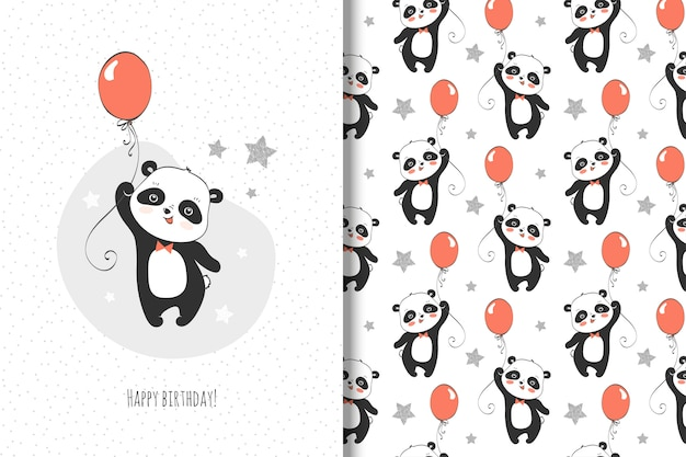 Cute little panda card and seamless pattern for kids