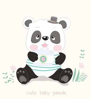 Cute little panda cartoon with camera