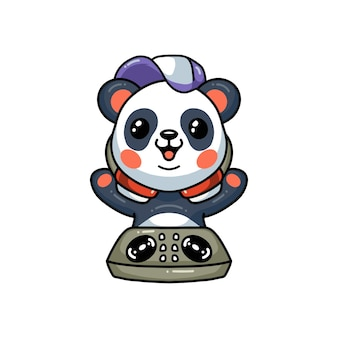 Милая маленькая панда dj музыкальный мультфильм