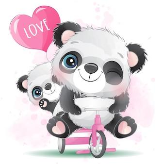 Милый маленький панда отец и сын, езда на велосипеде