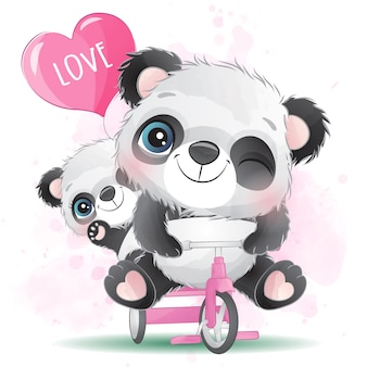 Cute little panda father and son riding a bicycle