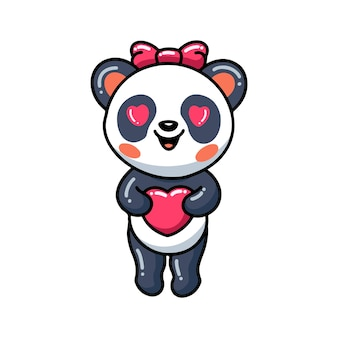 Милая маленькая панда девочка мультфильм с сердцем