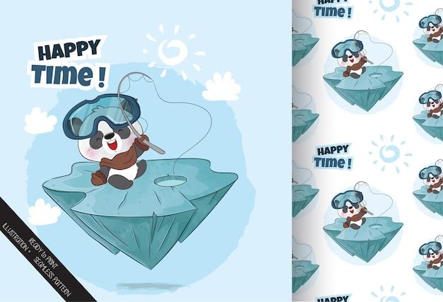 かわいい小さなパンダ幸せな釣りのシームレスなパターン-背景のイラスト