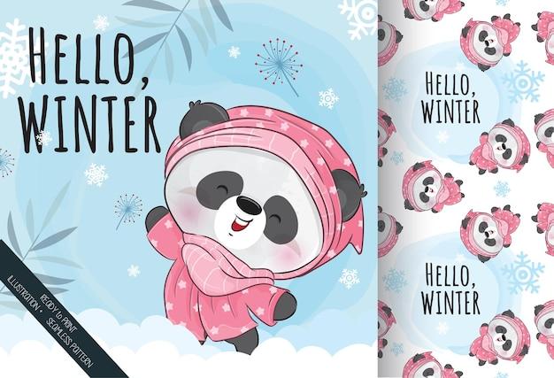 かわいい小さなパンダ幸せな冬のシームレスなパターン-背景のイラスト