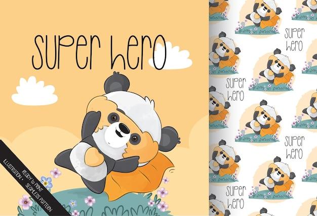 Милый маленький персонаж панды-героя с желтой маской и бесшовные модели