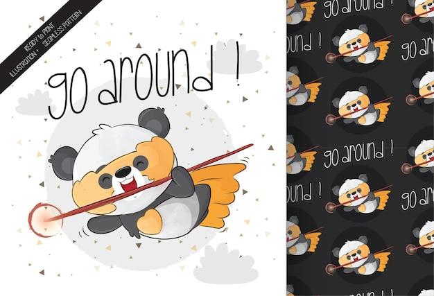Cute little panda hero character with yellow mask and seamless pattern