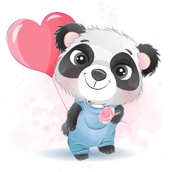 Милая маленькая панда держит воздушный шар любви Premium векторы